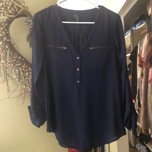 Women's small top navy blue blouse